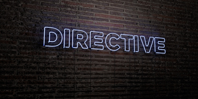 DIRECTIVE -Realistic Neon Sign on Brick Wall background